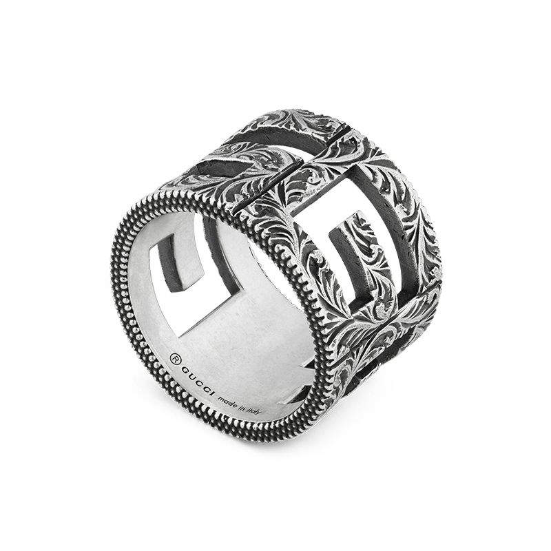 Gucci Silver GG Marmont YBC551917001 Fashion Ring