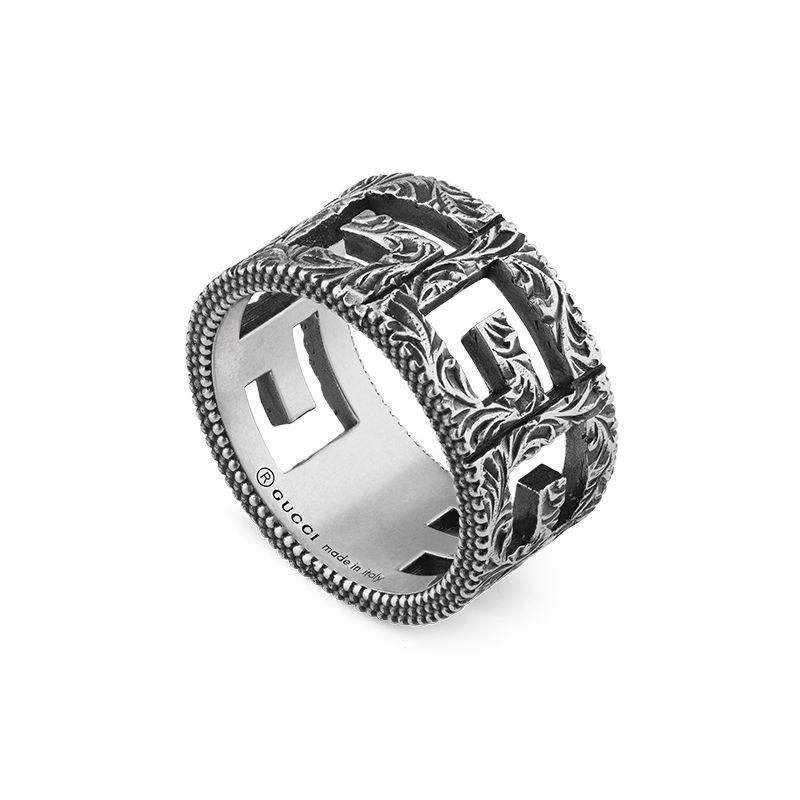 Gucci Silver GG Marmont YBC551918001 Fashion Ring
