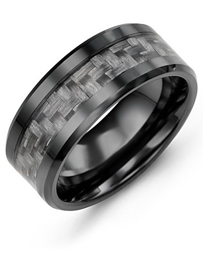 Madani Beveled Carbon Fiber Ceramic Wedding Band  MGT900CR Men's Wedding band