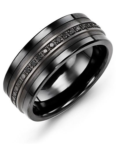 Madani Monochromatic Black Gold Black Diamond Ring MKQ910CF-15B Men's Wedding ba