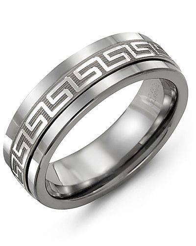 Madani Ancient Greek Key Pattern Wedding Band  MAJ710BW Men's Wedding band