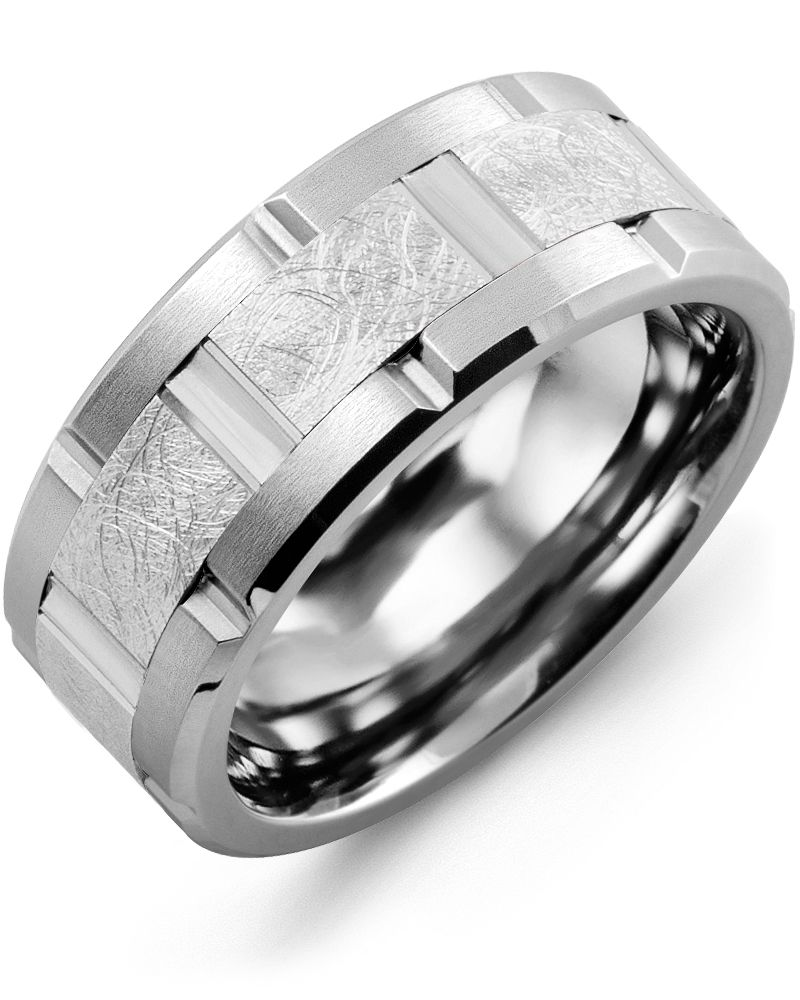 Madani Textured Grooved Wedding Ring MQE910EW Men's Wedding band