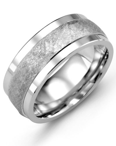Madani Brush Designed Wedding Ring MKE910BW Men's Wedding band