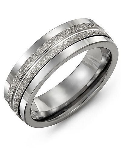 Madani Laser Finish Wedding Ring MAR710BW Men's Wedding band
