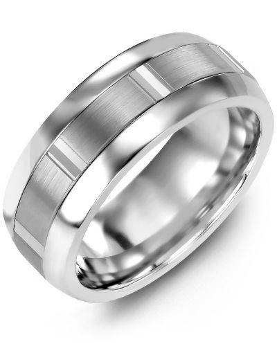 Madani Brushed Vertical Accents Wedding Ring MFN610LW Men's & women's Wedding ba