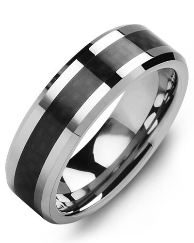 Madani Beveled Carbon Fiber Tungsten Wedding Band  MGO700TR Men's Wedding band