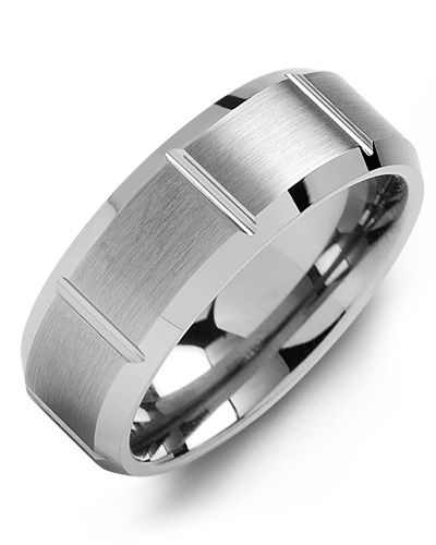 Madani Beveled Grooved Tungsten Wedding Band  MGC800TT Men's Wedding band