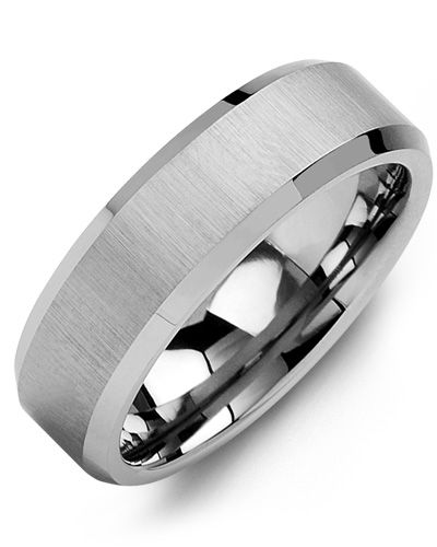 Madani Beveled Satin Finish Tungsten Wedding Ring MGB700TT Men's Wedding band