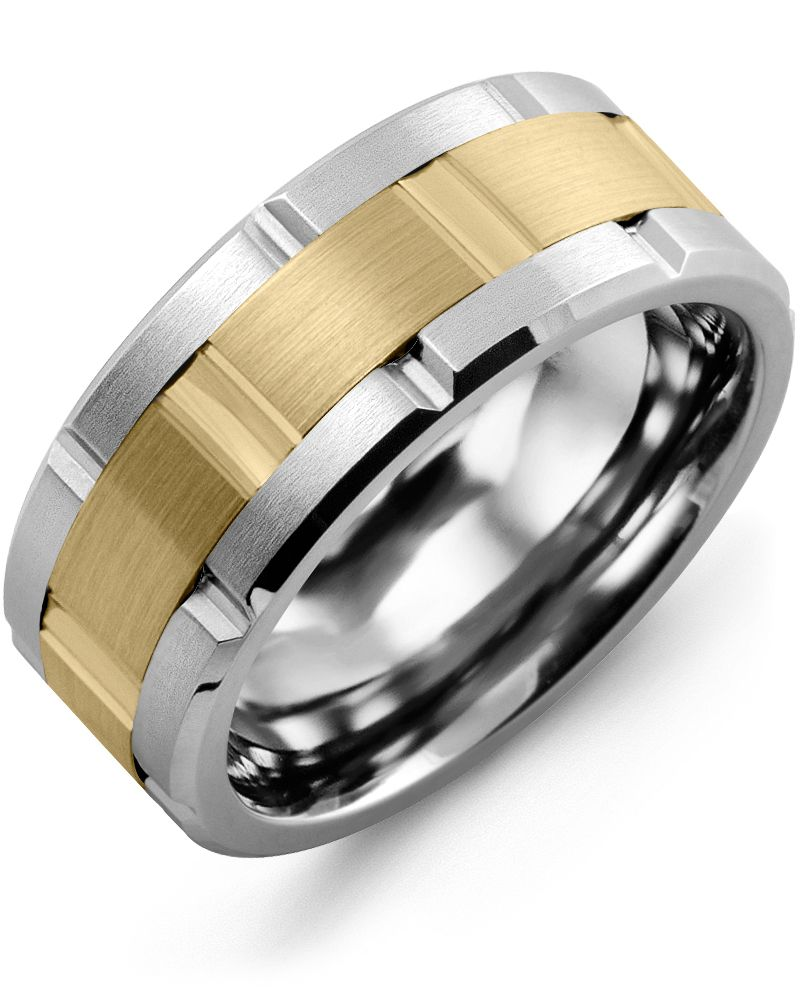 Madani Satin Finish Grooved Wedding Band  MQA910GY Men's Wedding band