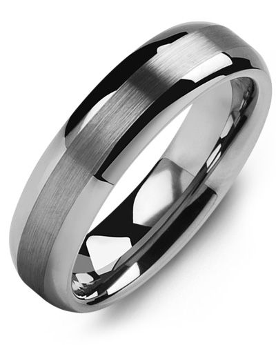 Madani Classic Thin Brushed Tungsten Wedding Ring MGR600TT Men's Wedding band