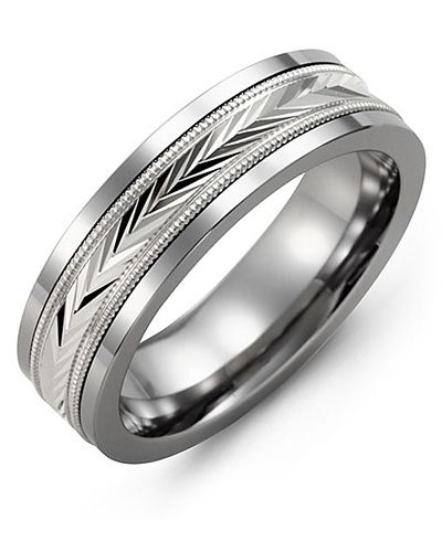 Madani Diamond-Cut V Wedding Ring MBJ710TW Men's Wedding band