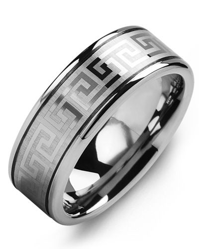 Madani Eternity Greek Key Tungsten Wedding Ring MGQ800TT Men's Wedding band