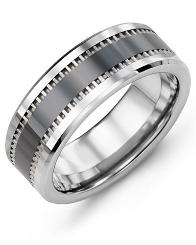 Madani Geometric Design Tungsten Ceramic Wedding Ring MGZ800TC Men's Wedding ban