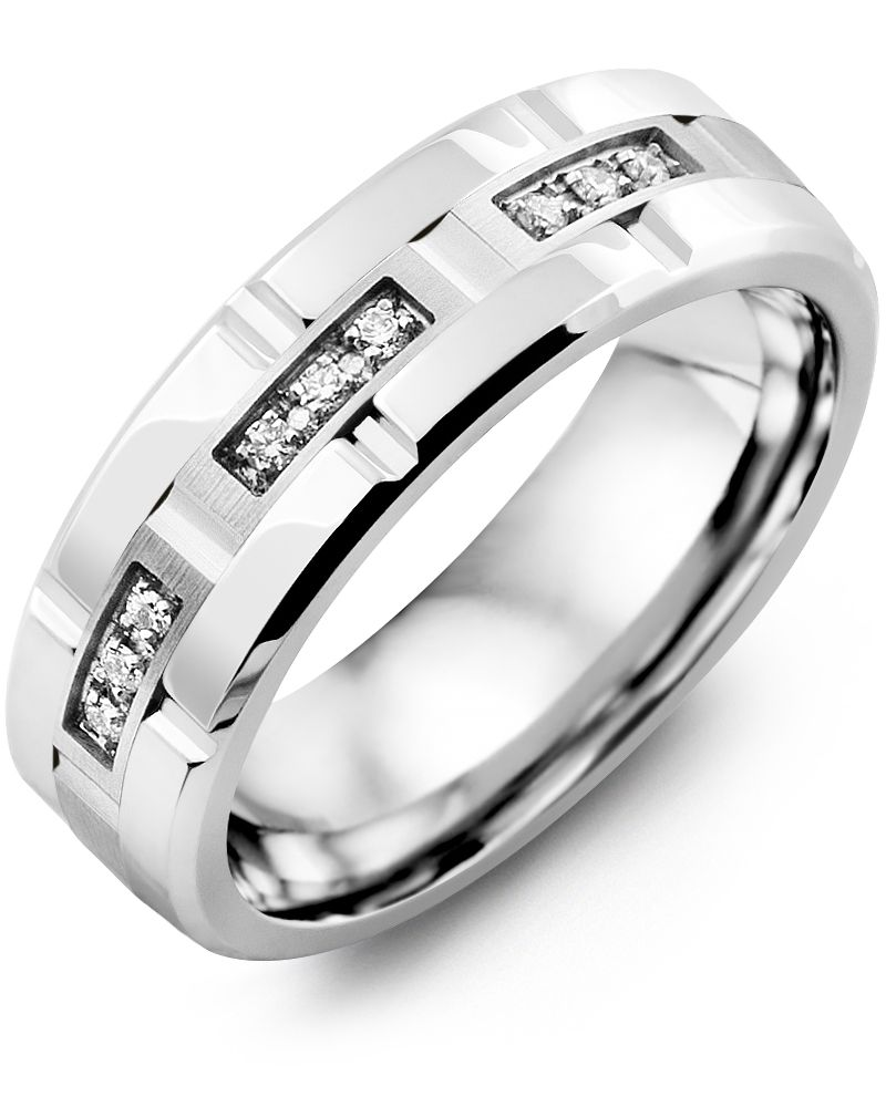 Madani Trio Diamond Grooved Wedding Band  MIC710DW-9R Men's Wedding band