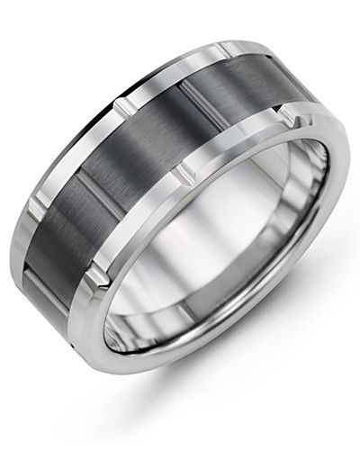 Madani Tungsten Ceramic Grooved Wedding Ring MHA900TC Men's Wedding band