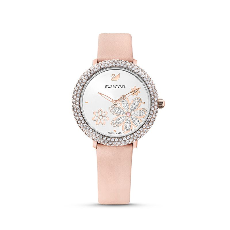 Swarovski Crystal Frost Watch Leather strap Pink Rose-gold tone PVD 5519223 Pave - La Maison Monaco
