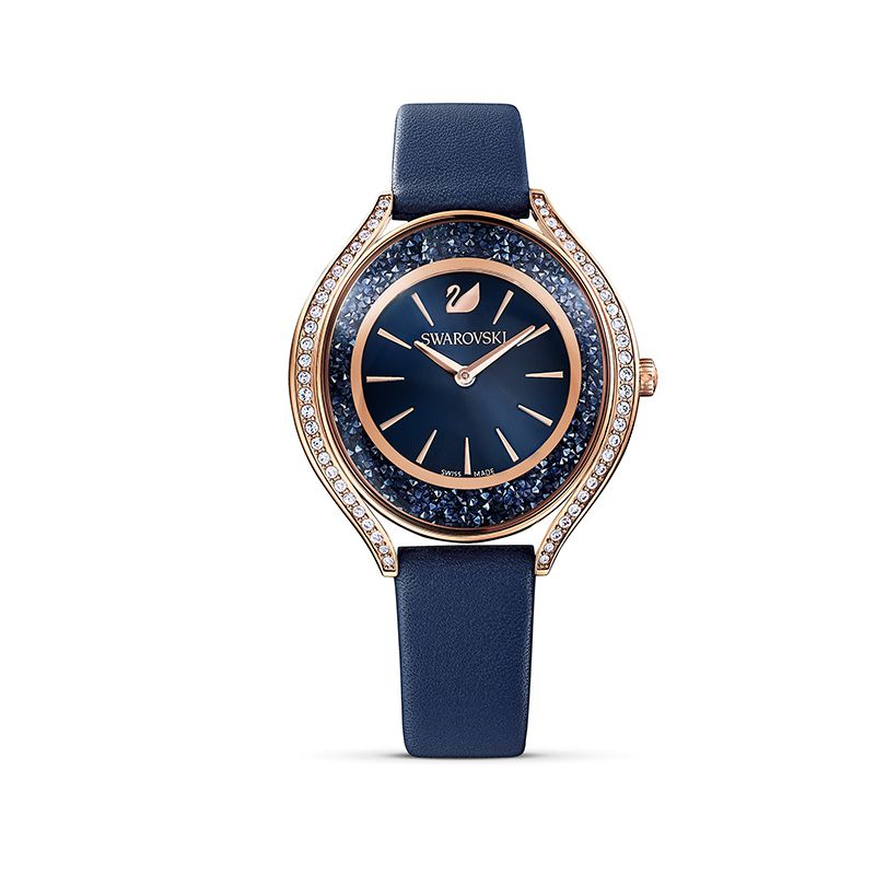Swarovski Crystalline Aura Watch Leather strap Blue Rose-gold tone PVD 5519447 Crystalline - La Maison Monaco