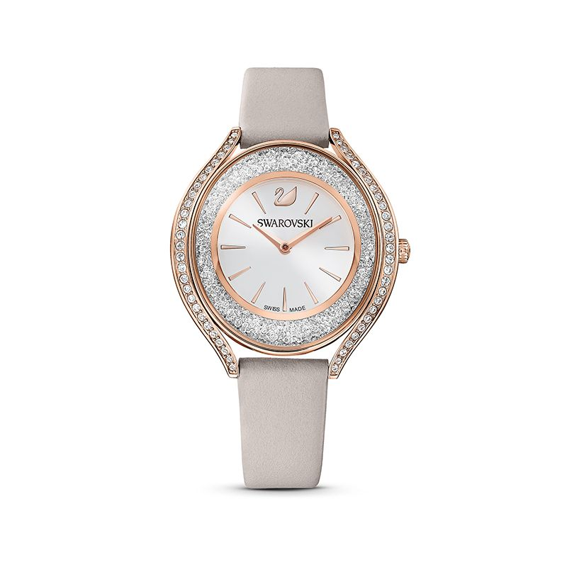 Swarovski Crystalline Aura Watch Leather strap Gray Rose-gold tone PVD 5519450 Crystalline - La Maison Monaco