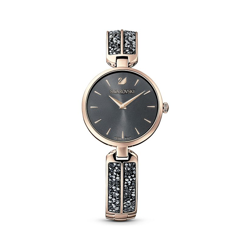 Swarovski Dream Rock Watch Metal Bracelet Gray Champagne-gold tone PVD 5519315 Crystal Rock - La Maison Monaco