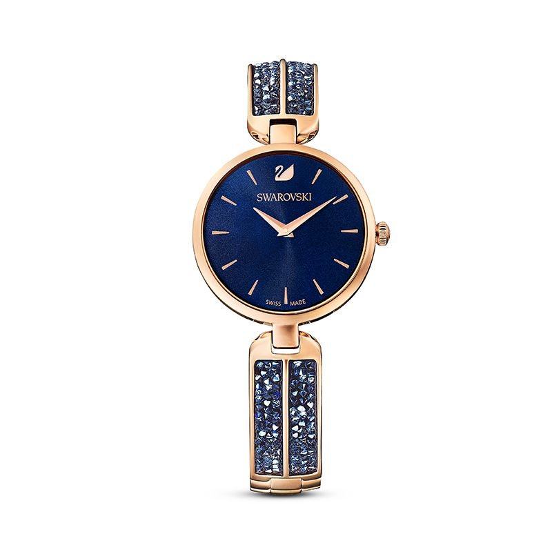 Swarovski Dream Rock Watch Metal Bracelet Blue Rose-gold tone PVD 5519317 Crystal Rock - La Maison Monaco