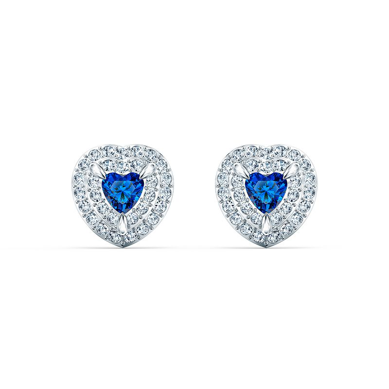 Swarovski One Stud Pierced Earrings Blue Rhodium plated 5511685 Earrings - La Maison Monaco
