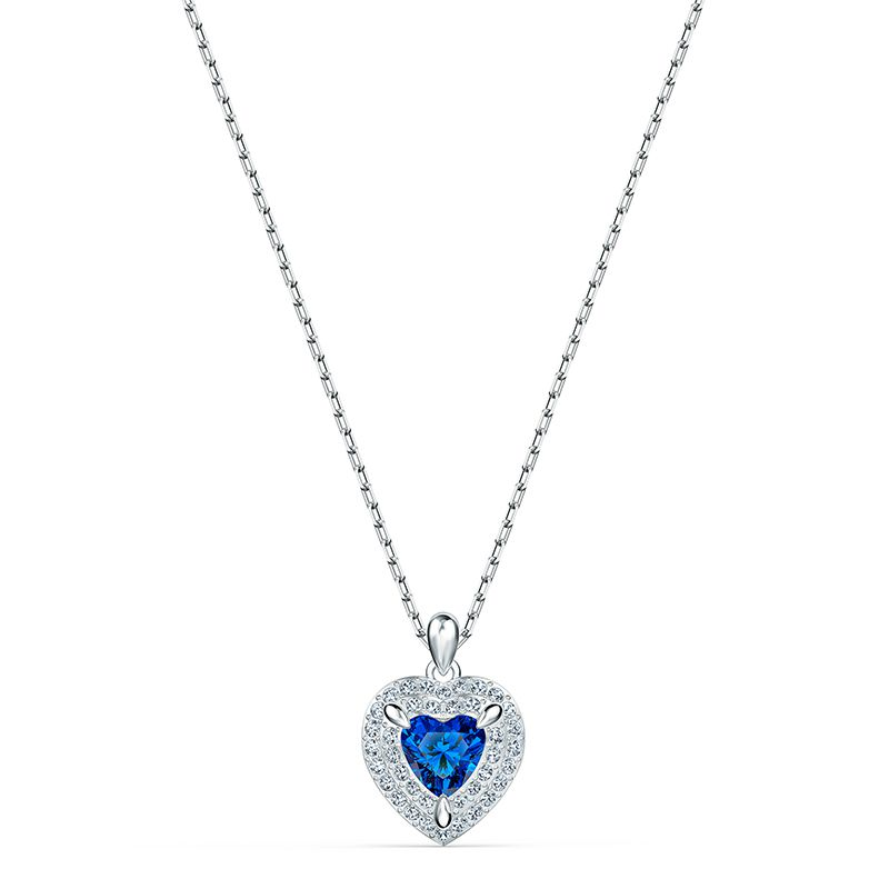 Swarovski One Pendant Blue Rhodium plated 5511541 Necklace - La Maison Monaco