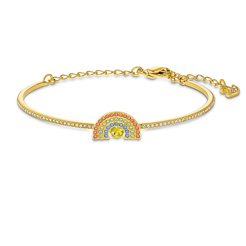 Swarovski Sparkling Dance Rainbow Bangle Light multi-colored Gold-tone plated 5537493 Bracelet - La Maison Monaco