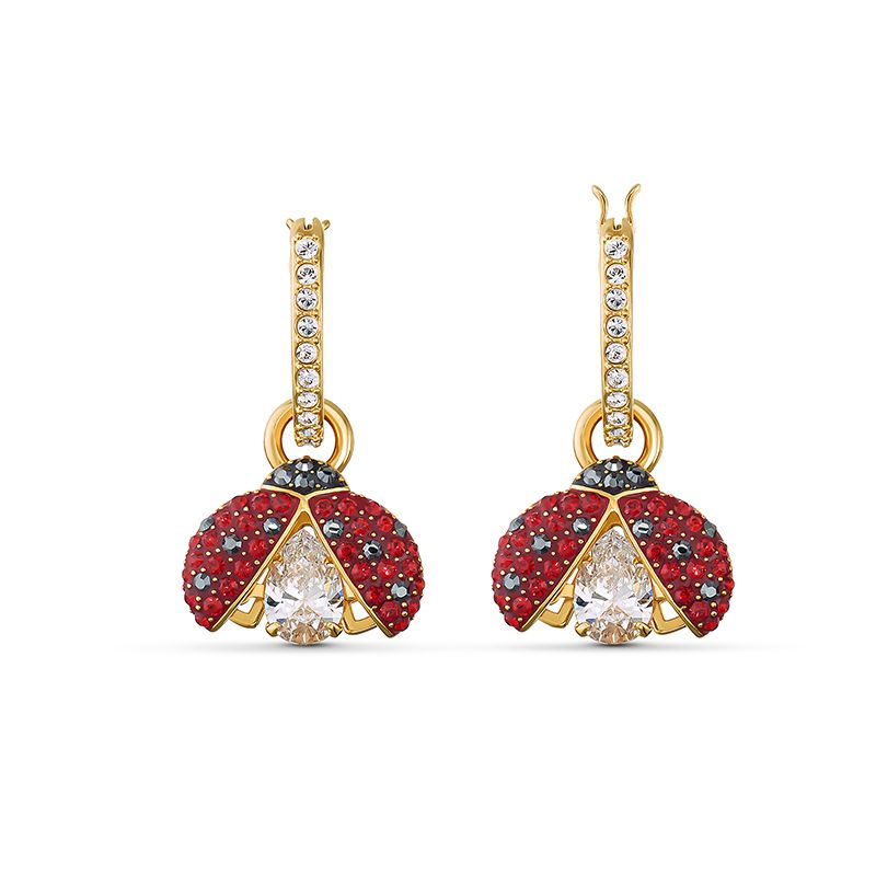 Swarovski Sparkling Dance Ladybug Pierced Earrings Red Gold-tone plated 5537490 Earrings - La Maison Monaco