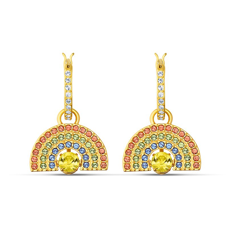 Swarovski Sparkling Dance Rainbow Pierced Earrings Light multi-colored Gold-tone plated 5537494 Earrings - La Maison Monaco