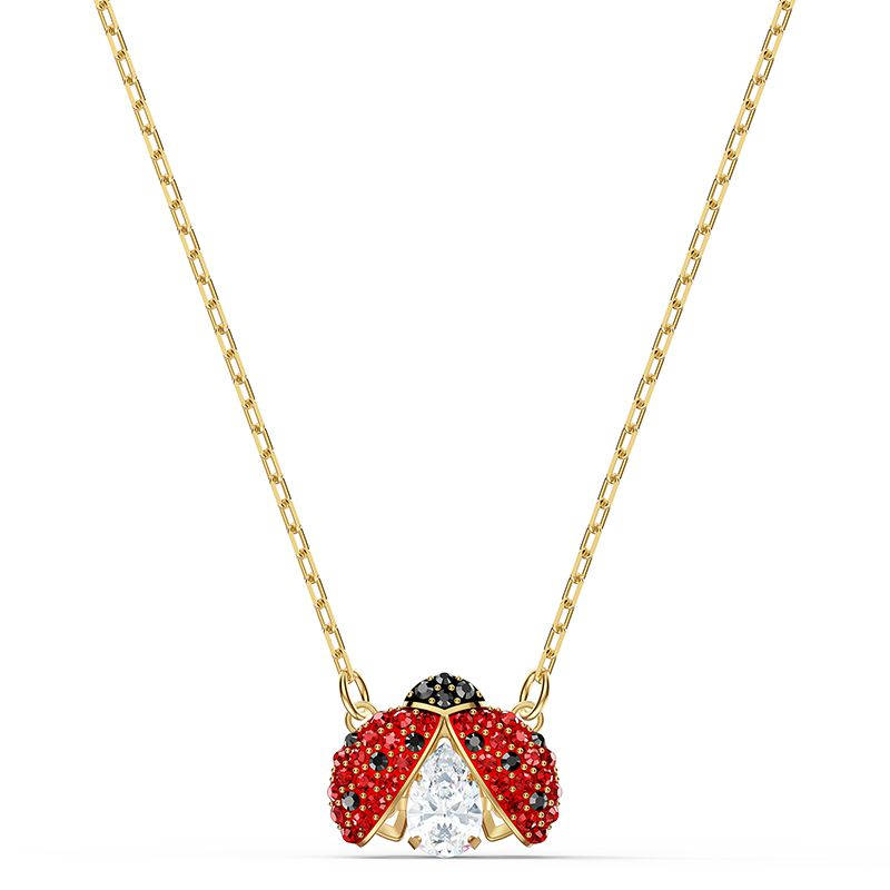 Swarovski Sparkling Dance Ladybug Necklace Red Gold-tone plated 5521787 Necklace - La Maison Monaco